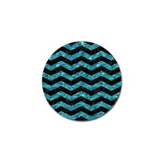 Chevron3 Black Marble & Blue Green Water Golf Ball Marker by trendistuff