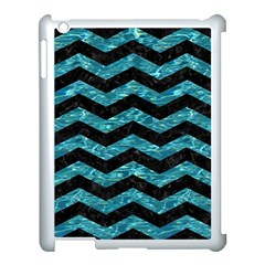 Chevron3 Black Marble & Blue Green Water Apple Ipad 3/4 Case (white) by trendistuff