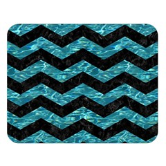 Chevron3 Black Marble & Blue Green Water Double Sided Flano Blanket (large) by trendistuff