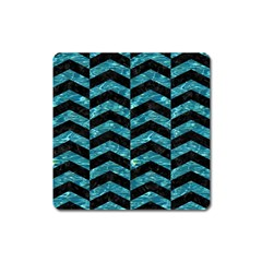 Chevron2 Black Marble & Blue Green Water Magnet (square) by trendistuff