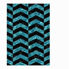 Chevron2 Black Marble & Blue Green Water Small Garden Flag (two Sides) by trendistuff