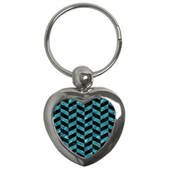 Chevron1 Black Marble & Blue Green Water Key Chain (heart) by trendistuff
