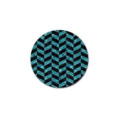 Chevron1 Black Marble & Blue Green Water Golf Ball Marker by trendistuff
