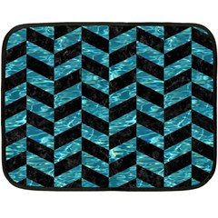 Chevron1 Black Marble & Blue Green Water Fleece Blanket (mini) by trendistuff