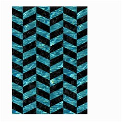Chevron1 Black Marble & Blue Green Water Large Garden Flag (two Sides) by trendistuff