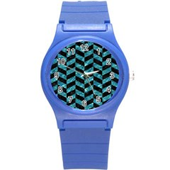 Chevron1 Black Marble & Blue Green Water Round Plastic Sport Watch (s) by trendistuff
