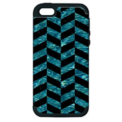 Chevron1 Black Marble & Blue Green Water Apple Iphone 5 Hardshell Case (pc+silicone) by trendistuff