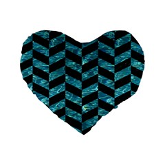 Chevron1 Black Marble & Blue Green Water Standard 16  Premium Heart Shape Cushion  by trendistuff
