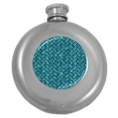 Brick2 Black Marble & Blue Green Water (r) Hip Flask (5 Oz) by trendistuff