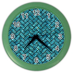 Brick2 Black Marble & Blue Green Water (r) Color Wall Clock by trendistuff