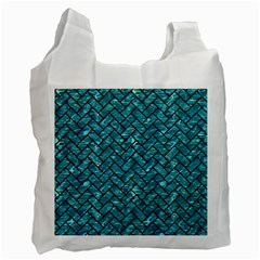 Brick2 Black Marble & Blue Green Water (r) Recycle Bag (two Side) by trendistuff