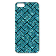 Brick2 Black Marble & Blue Green Water (r) Apple Seamless Iphone 5 Case (clear) by trendistuff