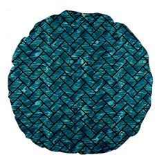 Brick2 Black Marble & Blue Green Water (r) Large 18  Premium Flano Round Cushion  by trendistuff