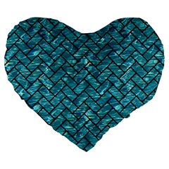 Brick2 Black Marble & Blue Green Water (r) Large 19  Premium Flano Heart Shape Cushion by trendistuff