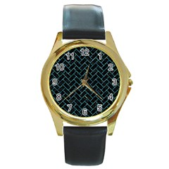 Brick2 Black Marble & Blue Green Water Round Gold Metal Watch by trendistuff