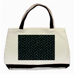 Brick2 Black Marble & Blue Green Water Basic Tote Bag by trendistuff