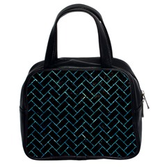 Brick2 Black Marble & Blue Green Water Classic Handbag (two Sides) by trendistuff