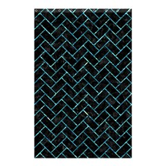 Brick2 Black Marble & Blue Green Water Shower Curtain 48  X 72  (small) by trendistuff