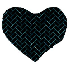 Brick2 Black Marble & Blue Green Water Large 19  Premium Flano Heart Shape Cushion by trendistuff