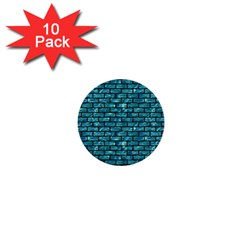 Brick1 Black Marble & Blue Green Water (r) 1  Mini Button (10 Pack)  by trendistuff