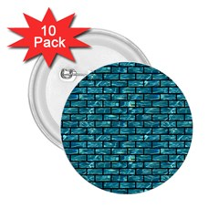 Brick1 Black Marble & Blue Green Water (r) 2 25  Button (10 Pack) by trendistuff