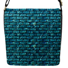 Brick1 Black Marble & Blue Green Water (r) Flap Closure Messenger Bag (s)