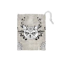 Wonderful Sugar Cat Skull Drawstring Pouches (small)  by FantasyWorld7