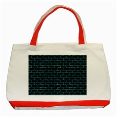 Brick1 Black Marble & Blue Green Water Classic Tote Bag (red) by trendistuff