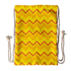 Zigzag (orange And Yellow) Drawstring Bag (large) by berwies