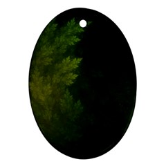 Beautiful Fractal Pines In The Misty Spring Night Ornament (oval) by jayaprime