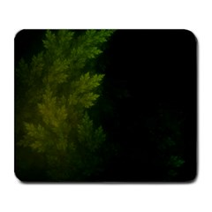 Beautiful Fractal Pines In The Misty Spring Night Large Mousepads by jayaprime