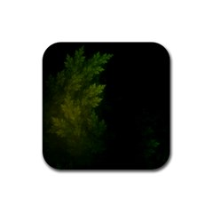 Beautiful Fractal Pines In The Misty Spring Night Rubber Coaster (square)  by beautifulfractals