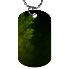 Beautiful Fractal Pines In The Misty Spring Night Dog Tag (one Side) by jayaprime