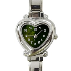 Beautiful Fractal Pines In The Misty Spring Night Heart Italian Charm Watch by beautifulfractals