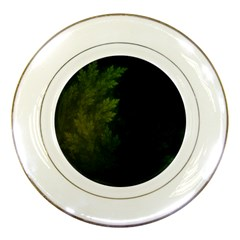Beautiful Fractal Pines In The Misty Spring Night Porcelain Plates by jayaprime
