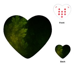 Beautiful Fractal Pines In The Misty Spring Night Playing Cards (heart)  by jayaprime