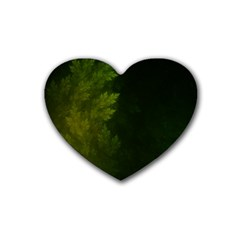 Beautiful Fractal Pines In The Misty Spring Night Rubber Coaster (heart)  by beautifulfractals