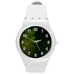 Beautiful Fractal Pines In The Misty Spring Night Round Plastic Sport Watch (m) by jayaprime