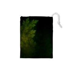 Beautiful Fractal Pines In The Misty Spring Night Drawstring Pouches (small)  by jayaprime