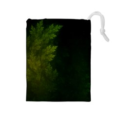 Beautiful Fractal Pines In The Misty Spring Night Drawstring Pouches (large)  by jayaprime