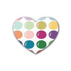 Brights Pastels Bubble Balloon Color Rainbow Rubber Coaster (heart)  by Mariart