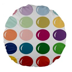 Brights Pastels Bubble Balloon Color Rainbow Large 18  Premium Flano Round Cushions by Mariart