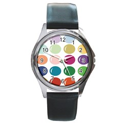 Brights Pastels Bubble Balloon Color Rainbow Round Metal Watch by Mariart