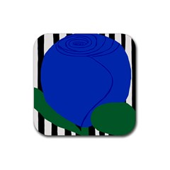 Blue Flower Leaf Black White Striped Rose Rubber Square Coaster (4 Pack)  by Mariart