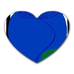 Blue Flower Leaf Black White Striped Rose Heart Mousepads by Mariart