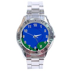 Blue Flower Leaf Black White Striped Rose Stainless Steel Analogue Watch by Mariart