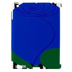 Blue Flower Leaf Black White Striped Rose Apple Ipad 3/4 Hardshell Case (compatible With Smart Cover) by Mariart