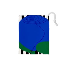 Blue Flower Leaf Black White Striped Rose Drawstring Pouches (small)  by Mariart