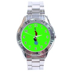 Egg Line Rainbow Green Stainless Steel Analogue Watch by Mariart