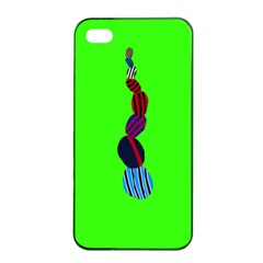 Egg Line Rainbow Green Apple Iphone 4/4s Seamless Case (black) by Mariart